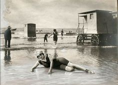 Scheveningen beach, Netherlands. 1912. Give a whole new meaning to beach place!