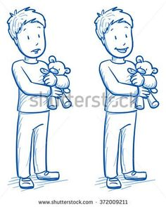 Cute little boy holding his bear in two emotions, happy and sad. Hand drawn cartoon doodle vector illustration.