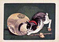 "Kobayashi Kiyochika ""Cat and a Lantern"""