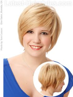 A short and sweet hairstyle for a round face