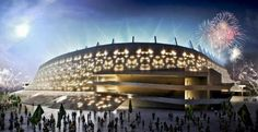 Not just a stadium, Arena Pernambuco is a new complex called City of the Cup, which will include residential and business towers, hotel and shopping centers. You can see the design cut into the stadium walls to allow light inside. There will be five matches in this new stadium. #Pernambuco #brazil