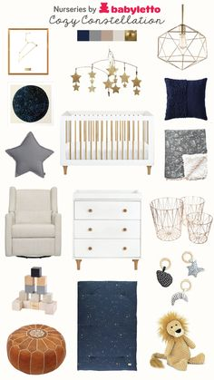 Cozy Constellation Nursery Mama created a starry nursery fit for a little baby Leo. Create your own cozy room inspired by your babe's zodiac sign with neutrals and constellation inspired pieces. Galaxy Nursery, Sky Nursery, Boy Nursery Themes, Nursery Neutral, Nursery Room, Nursery Ideas, Outer Space Nursery, Baby Bedroom, Baby Boy Rooms