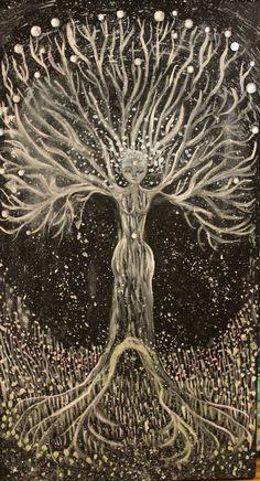 """Silver Alchemy Tree"" acrylic on canvas winter 2016. by Juliana LaChance"