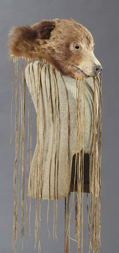Native American Indian Bear Head Mask, 19th c., with long rawhide fringe