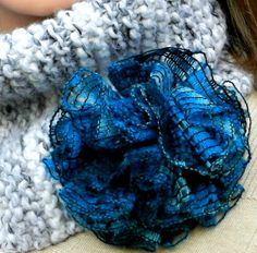 Check out our ruffled yarn selection for the very best in unique or custom, handmade pieces from our shops. Ruffle Yarn Projects, Creative Crafts, Diy Crafts, Brooch Pin, Brooches, Crocheting, Knit Crochet, Winter Fashion, Scarves