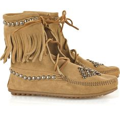 Bess Trampers studded suede boots ❤ liked on Polyvore featuring shoes, boots, ankle booties, scarpe, zapatos, women, fringe moccasin boots, fringe booties, fringe boots and tan ankle boots