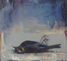 Eva de Visser – Title: Embalmed Redwing (Gebalsemde Koperwiek). Oil on wood. W: 30 cm x H: 30 cm. March, 2016.