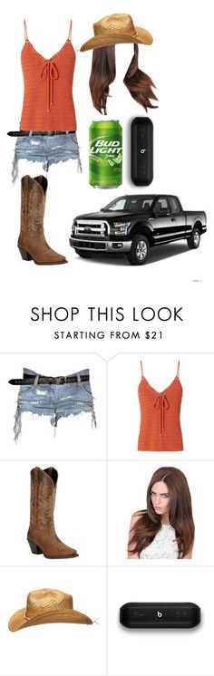 """""""A Country Summer"""" by andysgirlforever123 ❤ liked on Polyvore featuring Balmain, Exclusive for Intermix, Ariat, Dorothy Perkins, Beats by Dr. Dre and country"""