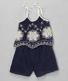 Another great find on #zulily! Navy Embroidered Romper - Girls #zulilyfinds