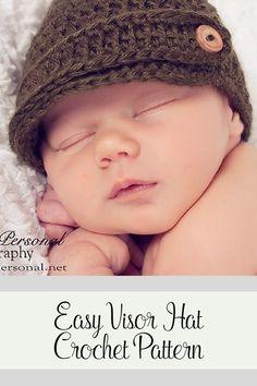 Crochet Pattern - An elegant crocher visor hat pattern for babies, boys, girls, kids, women, and men. Includes all sizes. By Posh Patterns.