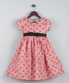 Look at this Joe-Ella Blush Floral Lattice Satin A-Line Dress - Infant, Toddler & Girls on #zulily today!