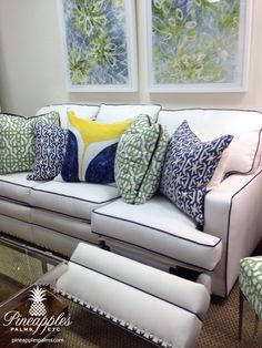 Reclining sofa with Sunbrella fabric available at Pineapples, Palms, etc. In Jupiter, Florida 561-748-8303