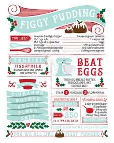 Bring us some Figgy Pudding, oh bring us some Figgy Pudding! This digitally illustrated recipe is both artistic and functional, if youre into