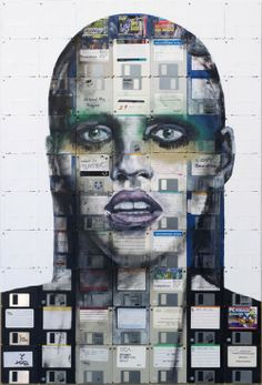 Portrait Paintings Made of Floppy Disk by Nick Gentry . Face Collage, Collage Art, Collages, Mixed Media Painting, Mixed Media Collage, Floppy Disk, Find Objects, Recycled Art, Picture Design