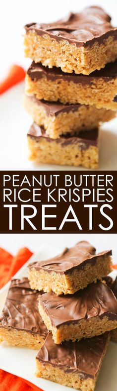 Chocolate-Covered Peanut Butter Rice Krispies Treats | Only 5 ingredients 20 minutes and this irresistible no-bake dessert is done. Always a party hit!