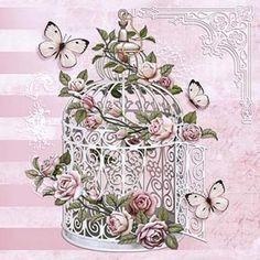 Resultado de imagen de papel decoupage adesiva 15x15 gaiola com rosas daxv-054 - litoarte