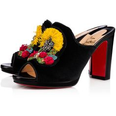 MULE RAFFIA NAPPA SHINNY/PIPING 100 Black Embroidery - Women Shoes -... (22,230 MXN) ❤ liked on Polyvore featuring shoes, mule shoes, black mule shoes, high heeled footwear, black mules and high heel mules