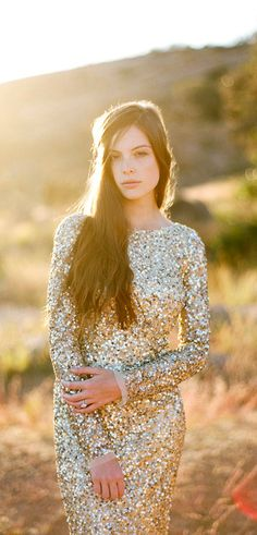 Aidan Mattox Gold Sequin Wedding Dress - @Rebecca Thomas I think this is one of my favorites. I REALLY like the gold