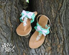 "Handmade Leather Sandals  ""Pink - Petrol"""