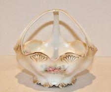 """Vintage RS Prussia Basket Bowl Pink Roses Gold Gilt Luster 3 Prong Handle -6.5"""""""