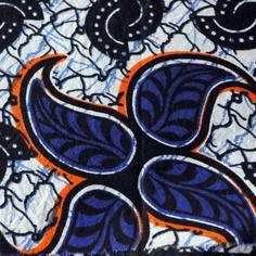Coupon tissu wax-tissu africain-50x30cm -bleu et orangé