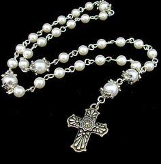 Anglican Prayer Beads in White Swarovski Pearls by byBrendaElaine