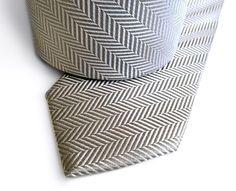 Silver Herringbone Silk Necktie