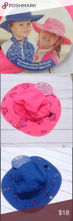 """UPF50 Sun Protection Sun Hat This fabulous sun hat will keep your little ones looking adorable, and protected from the suns rays at the same time. Side mesh vents help keep them cool. Velcro chin strap keeps it in place. 2 3/4"""" brim for maximum sun protection. Adjustable sizing. (50-54cm) Fits most kids ages 3-10. Available in pink with hibiscus flowers, or blue with sharks. Lightweight and comfortable. Sun Protection Zone Accessories Hats"""