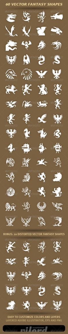 60 Fantasy Shapes — Vector EPS #dragon #ancient • Available here → https://graphicriver.net/item/60-fantasy-shapes/1986513?ref=pxcr