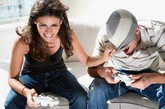 Girl having fun on xbox console