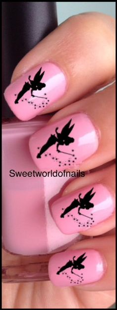 Black Tinkerbell Nail Art Water Decals/Transfers