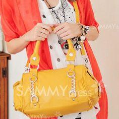 $15.42 Elegant Women's Street Level Handbag With Rivets and Chains Design