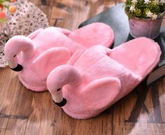 Flamingo peluche Fun Chaussons Pink taille 37-42 disponible