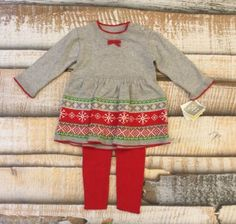 NWT $37.99 Elegant Baby Girls Sz 6 Month Outfit Set Sweater Knit Winter Dress