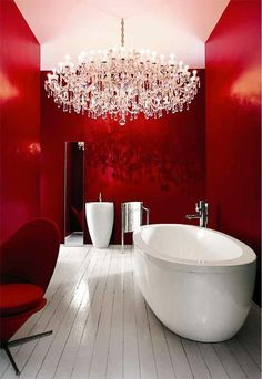 Red Bathroom, Red Décor, Red Decor, Red Inspiration, Red Walls, Interior Design, Large Bath Tub, Chandelier, Deliciously Red.