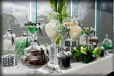 an elegant green candy display