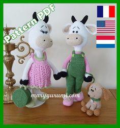 Tutorial para el Sr. y la Sra. Vache embarazada (familia Malenpis)  Esto no es un producto acabado sino un jefe a PDF protegido. **************************************************************************  Explicaciones en inglés, francés o Neerlandés de ganchillo esta pareja de vaca preparada para la maternidad.  Tutorial en PDF para hacer Sr. Vache, Sra. Vache, la maleta y el perro. Detallada explicación por escrito (sin figura) para hacer estos modelos.  Tamaños: Señor Malenpis: 32cms Sra…