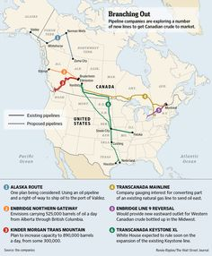Pipeline companies are exploring new lines to get Canadian crude to market. Map of North American pipelines: