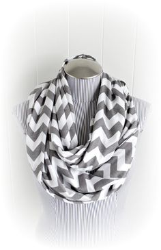 Gray Chevron Infinity Scarf, Grey and White Chevron Jersey Knit Loop Scarf, Nursing Scarf