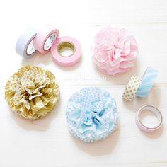 マステポンポンの作り方!マスキングテープとビニール袋でお花作り – How to Handmade~ハンドメイドの作り方~