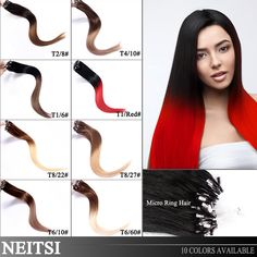 """Neitsi Hair Ombre Colored Micro Loop Ring Hair Extensions 20"""" 1g/s 50g 100g 100%Brazilian Remy Human Hair Straight Fast Delivery"""