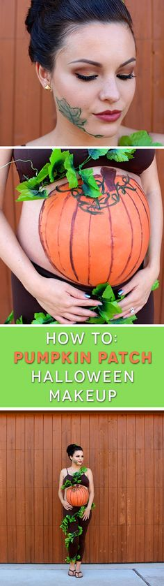 """Watch as beauty vlogger @glowofgrace turns her baby bump into an adorable """"baby pump"""" and pairs it with fall-inspired eye makeup using our Halloween All-in-One Kit!"""