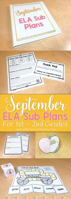 1st grade sub plans