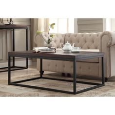 This Somette cocktail table will complete the look of your home. The wood finish and pecan color of this rectangle cocktail table gives it a unique look that will enhance your style.