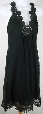 CATHERINE MALANDRINO Black Medallion Silk Crepe Crinkle Cocktail Dress Size 4...Get it now $30.00
