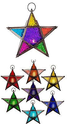 Glass & Metal Color Therapy Lanterns 5 Point Star (chakra colors) Mood Lighting is part of Mood lighting Stars - Stained Glass Christmas, Faux Stained Glass, Stained Glass Lamps, Stained Glass Designs, Stained Glass Patterns, Stained Glass Windows, Mosaic Glass, Chakra Colors, Clear Ornaments