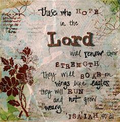 Cheri Johnson--Original Mixed Media Art Print - 5x5 isaiah 40 bible scripture verse word art. $10.00, via Etsy.