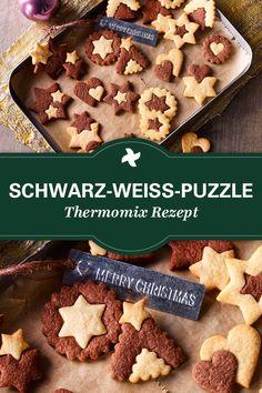 """Wow - sind die schön! Thermomix ® Rezept für tolle Schwarz-Weiß-Puzzle Cookies aus der Dr. Oetker - Kollektion """"Liebevoll selbstgemacht"""". Da muss man einfach naschen!"""