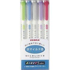 Zebra Mildliner Soft Colour Highlighter Marker double-sided Pen Set Made Japan Zebra Mildliner, Erasable Highlighters, Planners, Best Highlighter, Artist Pens, Marker Pen, Pen Sets, Japan Art, Soft Colors