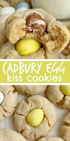 Cadbury Egg Kiss Cookies Kiss Cookies Cadbury Mini Eggs Easter Recipe Cadbury Egg Kiss Cookies are a fun way to celebrate spring and Easter Soft thick peanut butter c. No Egg Cookies, Kiss Cookies, Easter Cookies, Easter Treats, Peanut Butter Cookies, Cadbury Cookies, Easter Cookie Recipes, Easter Food, Easter Recipes For Two